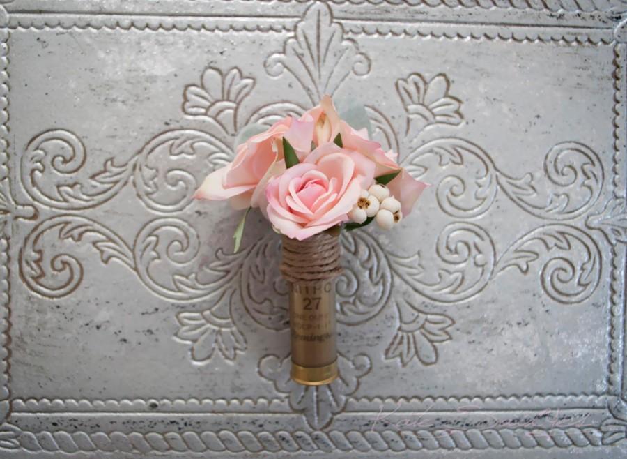 Mariage - Shotgun Shell Wedding Boutonniere with Blush Pink Roses