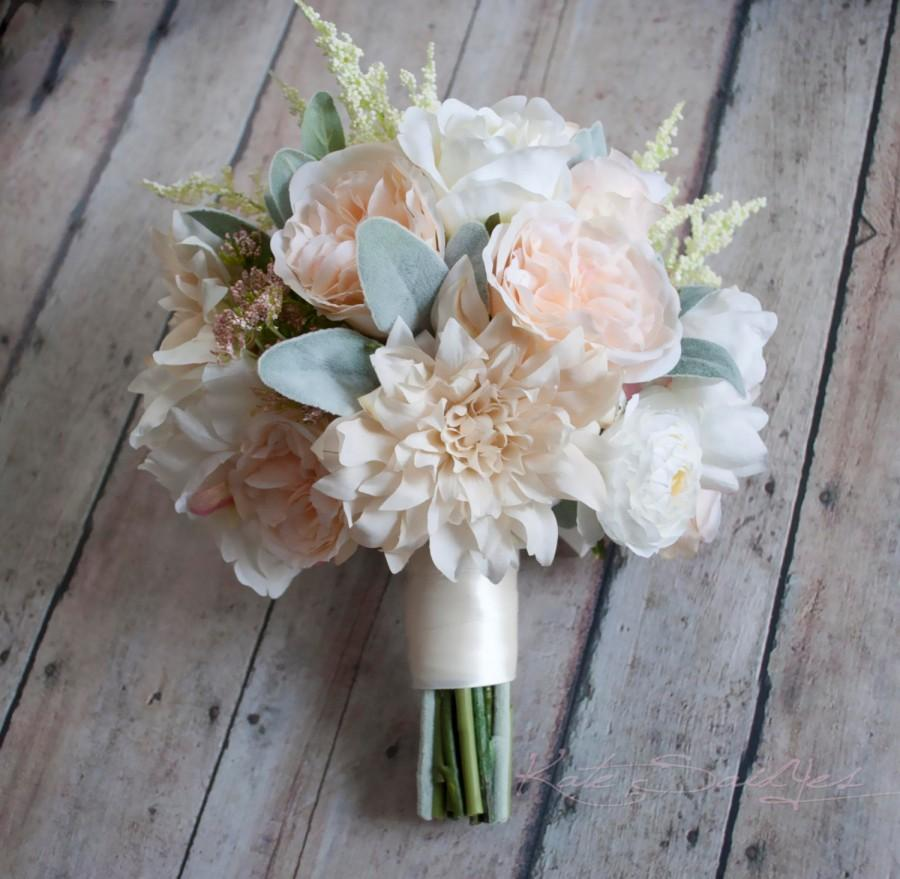 Wedding Bouquet Blush Pink And Ivory Garden Rose Dahlia And
