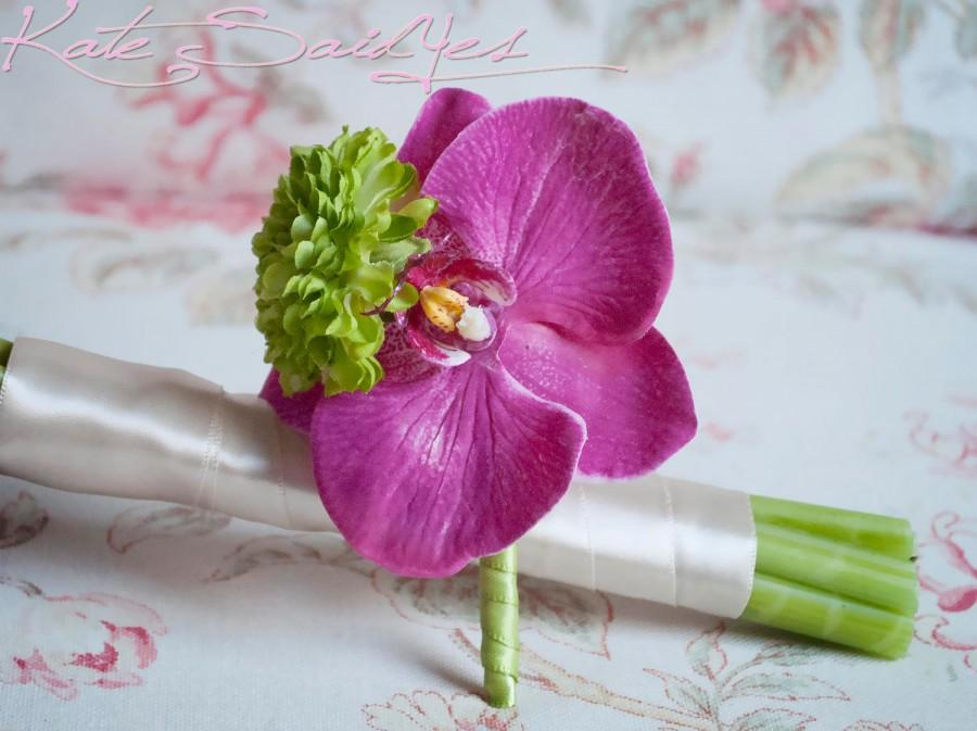 Свадьба - Fuchsia and Lime Orchid Boutonniere