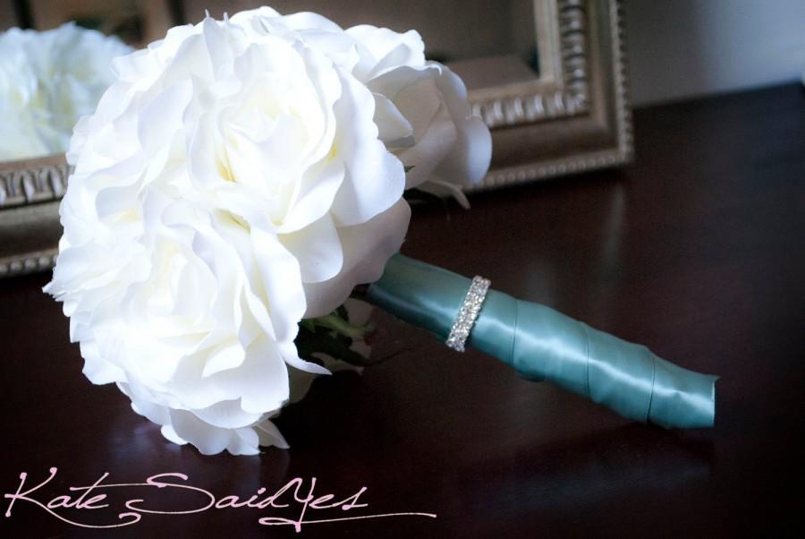 Wedding - Ivory Rose Silk Bridal Bouquet with Aqua Satin and Rhinestone Wrap