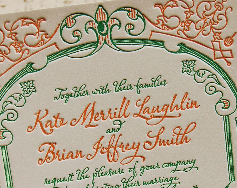 Letterpress Wedding Invitation Sample, Wedding Invitation, French ...