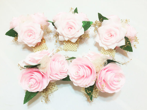 Blush And Gold Paper Peony Corsage Mother S Pearl Wrist Pin On Wedding Corsages Prom
