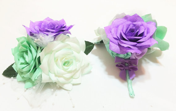 mint green and lavender corsages wedding corsage prom corsage custom colors buttonhole flower paper flower corsage