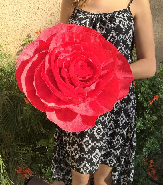 Giant Paper Rose, Crepe Paper Rose, Giant Bouquet Flower, Red Crepe ...