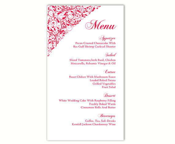 Wedding Menu Template DIY Menu Card Template Editable Text Word File  Instant Download Red Pink Menu Template Elegant Printable Menu 4x7inch  Dessert Menu Template