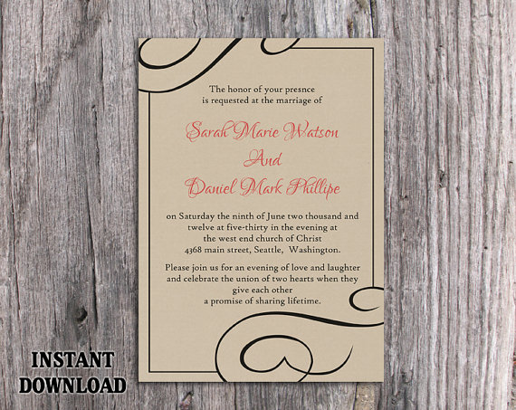 Burlap Wedding Invitations Diy: DIY Burlap Wedding Invitation Template Editable Word File