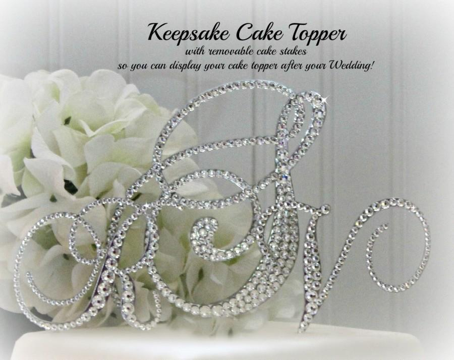 Свадьба - Monogram Wedding Cake Topper with 3 initials, KEEPSAKE, in any letter A B C D E F G H I J K L M N O P Q R S T U V W X Y Z