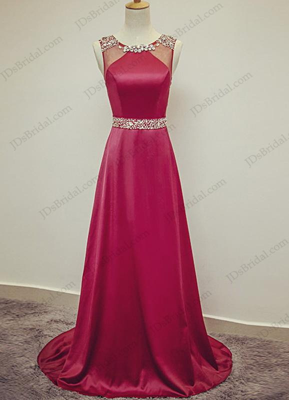 Wedding - PD16027 Simple elegant crystal detailed scoop neck red long evening prom dress