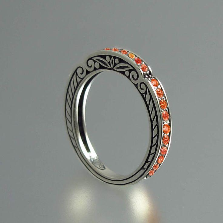 Düğün - CARYATID Band In Sterling Silver With Orange Saphires RESERVED For Kingjaba