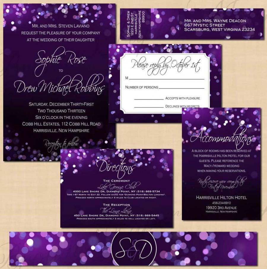 purple night sky invitation suite rsvp inserts belly band wrap