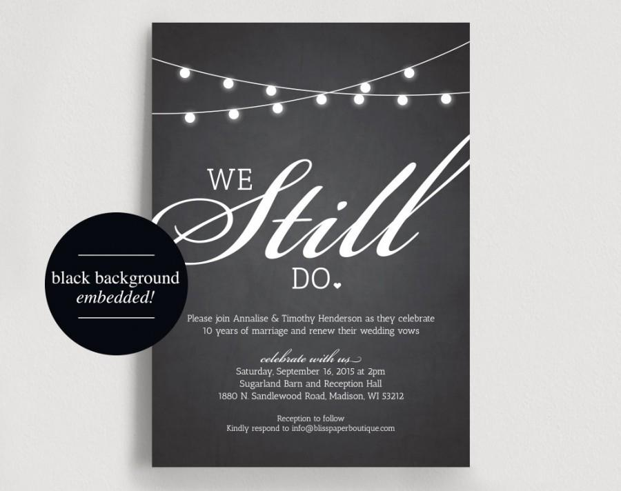 We still do vow renewal invitation vow renewal invite wedding vow we still do vow renewal invitation vow renewal invite wedding vow renewal chalkboard string light printable instant download stopboris Images