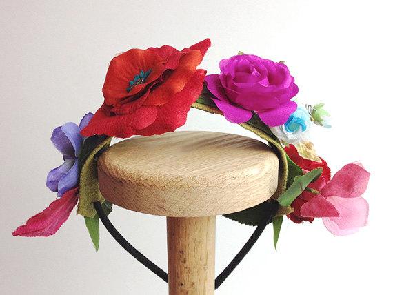 زفاف - Flower Girl Headband Rose Wedding Headband Antique Button Vintage silk flowers First Holy Communion