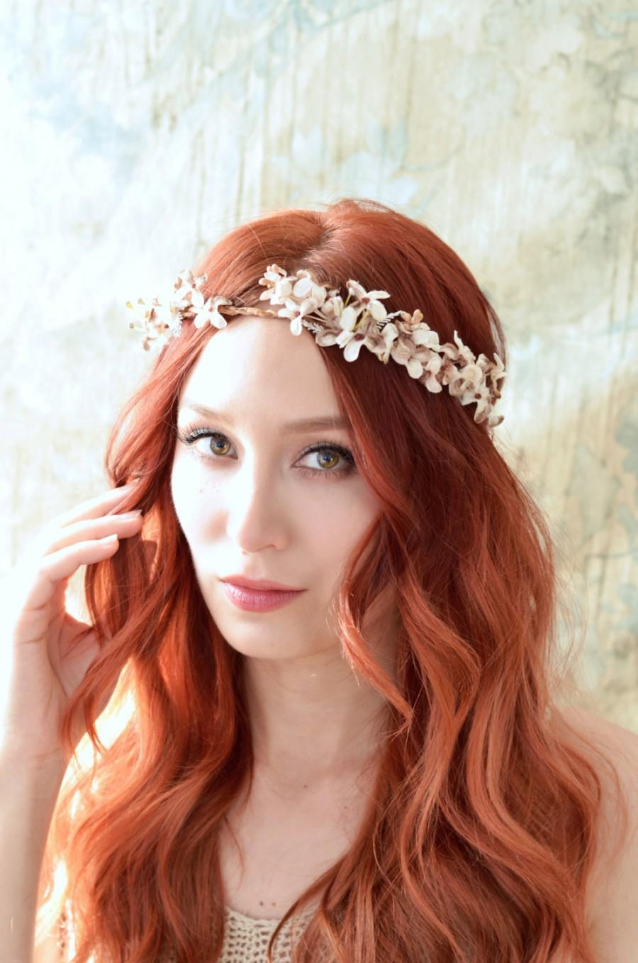 Rustic Woodland Bridal Crown Floral Circlet Fall Wedding Crown