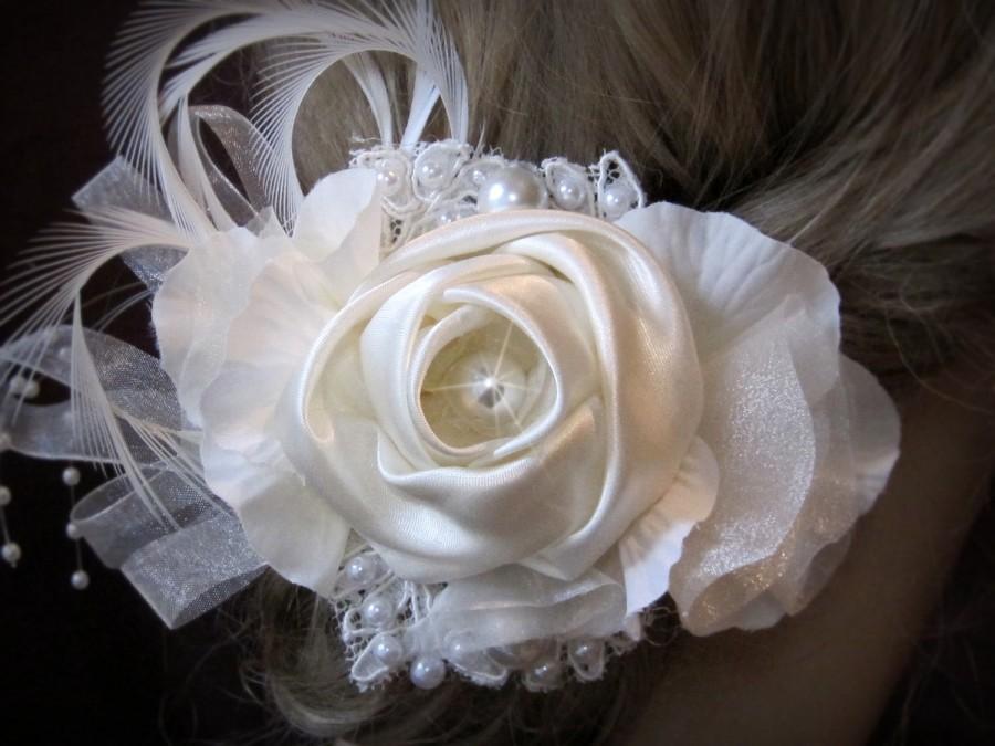 Mariage - Wedding Hair Accessories, Bridal Hair piece, Bridal Ivory Hair Flower, birdcage veil