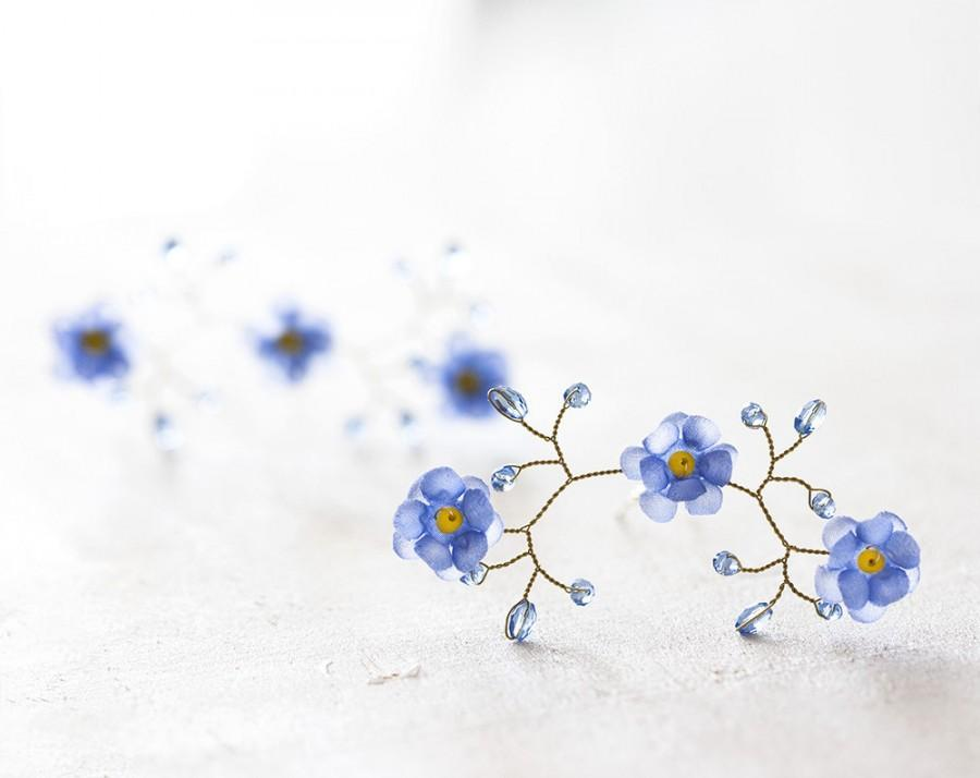 82 Flower Hair Pins For Bride Forget Me Not Accessories Blue Gold Wedding Piece