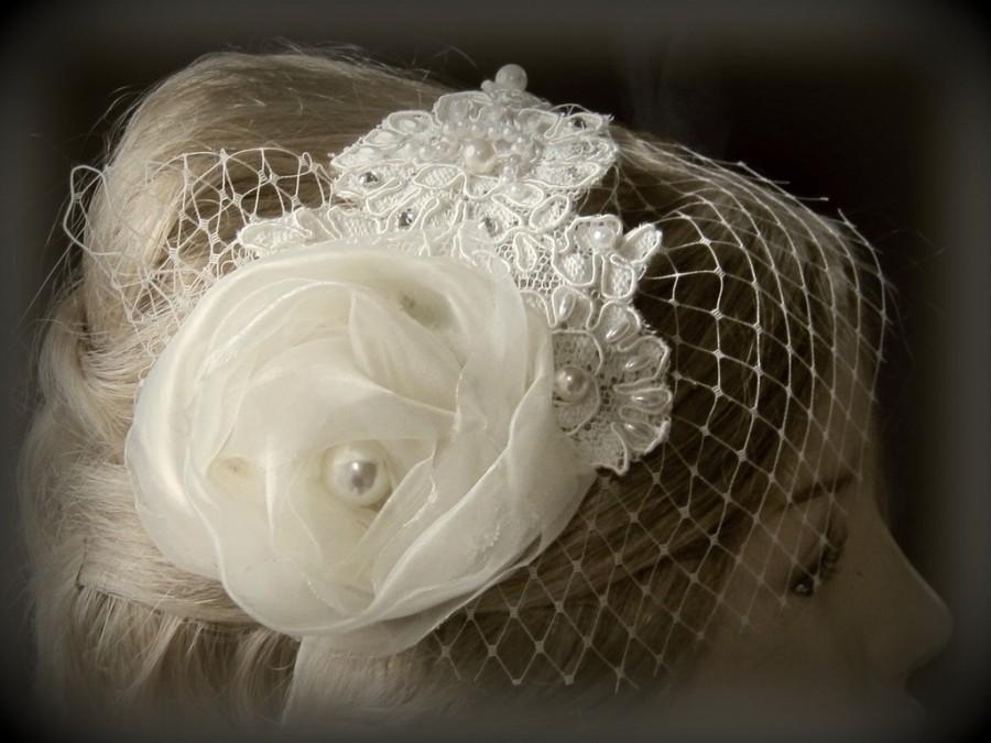 Mariage - Bridal accessories, Bridal Headband with  ivory  french  veil,  wedding headband with mini birdcage veil