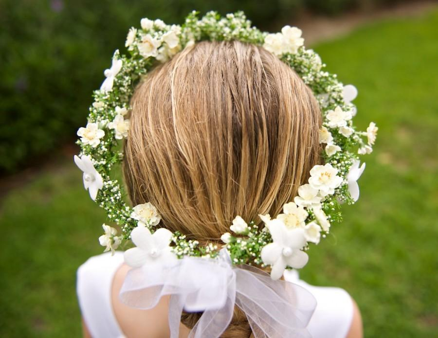 Off White And Green Wedding Hair Wreath