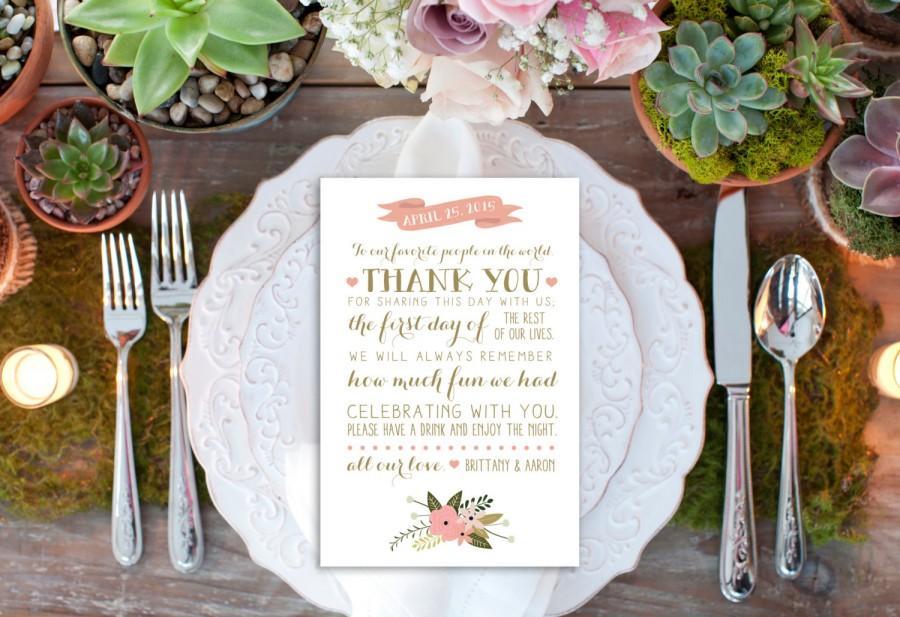 Mariage - PRINTABLE Custom Thank You Reception Card // Reception Decor // Thank You Card // Vintage Wedding Decor // DIGITAL