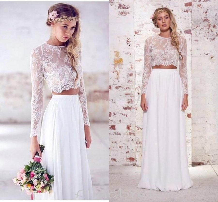2016 hot sale two pieces crop top bohemian wedding dresses for Bohemian style wedding dresses for sale