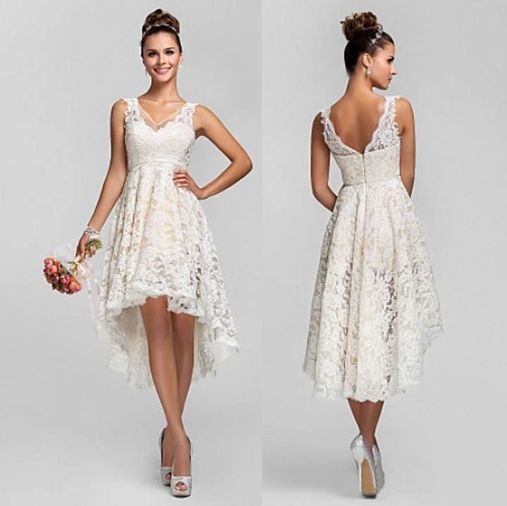 Wedding - Asymmetrical Lace Bridesmaid Dresses V Neck Hi Low Wedding Dresses Summer Beach Under 120$ Custom Made Short Bridesmaids Dresses Online with $96.76/Piece on Hjklp88's Store
