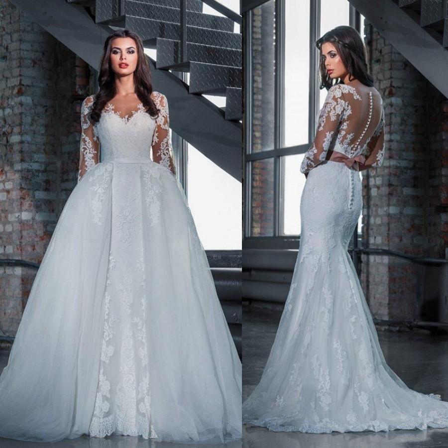 Fashion Lace Wedding Dresses With Detachable Skirt 2016 Princess Mermaid Long Sleeves See Through Plus Size Bridal Gowns 2 In 1 Sweep Train Online