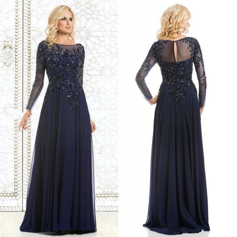 2016 Long Plus Size Mother Of The Bride Dresses Appliques Bead Backless Eveni