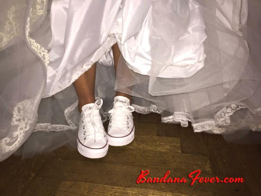 4135f166080f78 Custom Wedding Converse Low White - Personalized Mrs. Wedding Shoes - Bridal  Shoes - Mr and Mrs Shoes - Wedding Gifts - by Bandana Fever