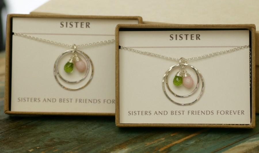 Birthstone Necklace For Sister Wedding Gift, Maid Of Honor Gift, Best ...