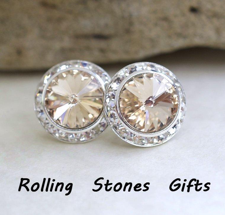 8ce997204 15mm, Light Silk Studs, Silver Earrings, Swarovski Surrounds, Rhinestone  Stud Earrings, Large Crystal Studs, Crystal Bridal Studs, Wedding