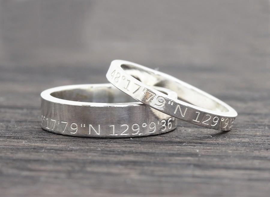 Wedding - Personalized Latitude Longitude Jewelry, Coordinates Ring,  Latitude Longitude Ring,  Location Ring,  wedding gift, gift for her