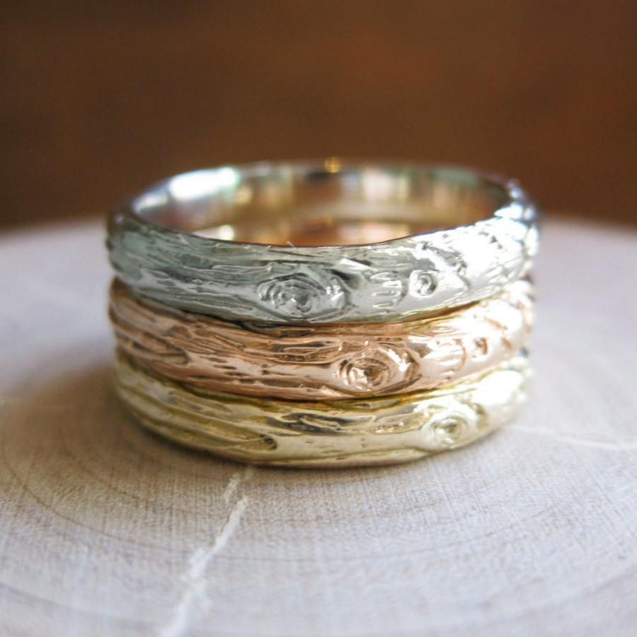 Hochzeit - Gold Twig womens band YOUR CHOICE white rose yellow wood grain 14kt 3mm ring Made to Order