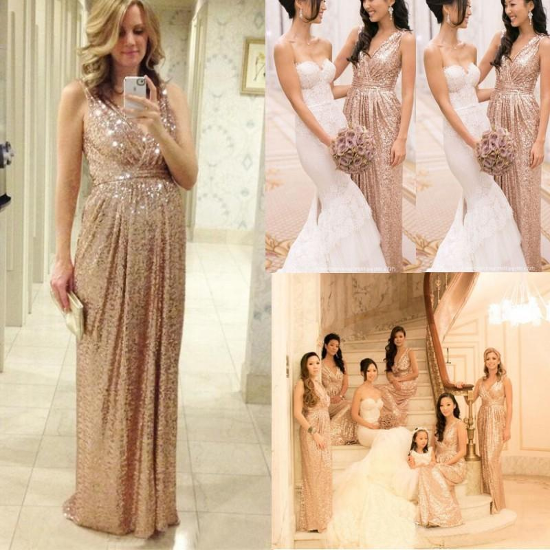 Wedding - 2015 Rose Gold Bridesmaids Dresses Sequins Plus Size Custom Made Maid Of Honor Wedding Party Dress Cheap Champagne Bridesmaid Dresses Online with $68.54/Piece on Hjklp88's Store
