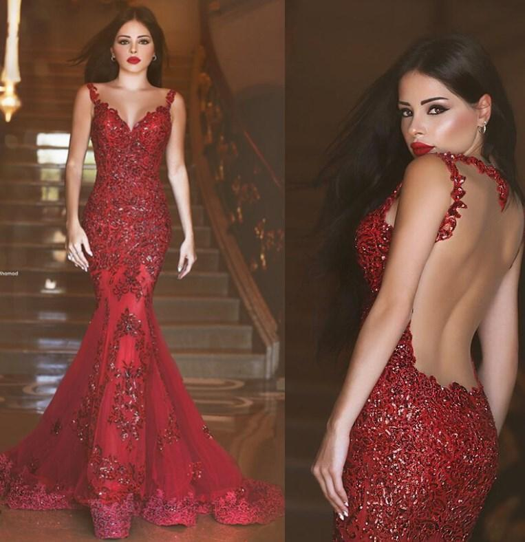 Wedding - 2016 New Arabic Backless Mermaid Evening Dresses 2015 Charming Long Prom Gowns Sequins Sweetheart Lace Applique Formal Cheap Evening Gowns Online with $108.85/Piece on Hjklp88's Store