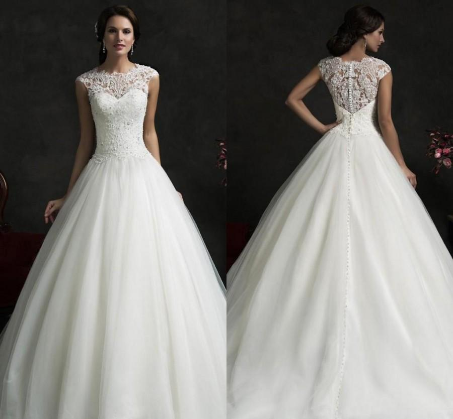 Wedding - Glamorous Amelia Sposa 2016 Spring Collection Sheer Top Lace A Line Wedding Dresses Appliques Beads Backless Bridal Gown Cap Sleeves BO9609 Online with $114.66/Piece on Hjklp88's Store