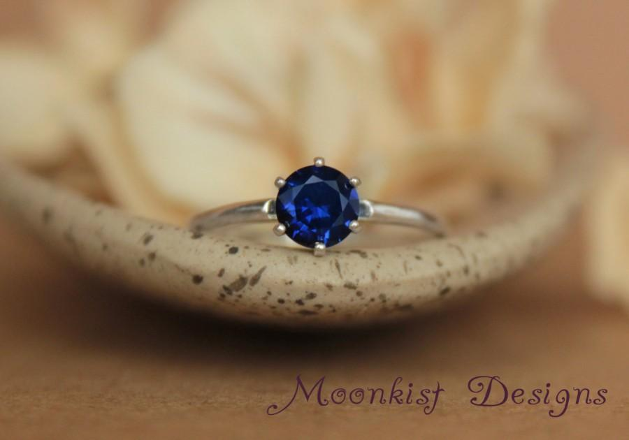 Hochzeit - Vintage Style Blue Sapphire Solitaire in Sterling - Silver Classic Solitaire Engagement Ring, Promise Ring, or September Birthstone Ring