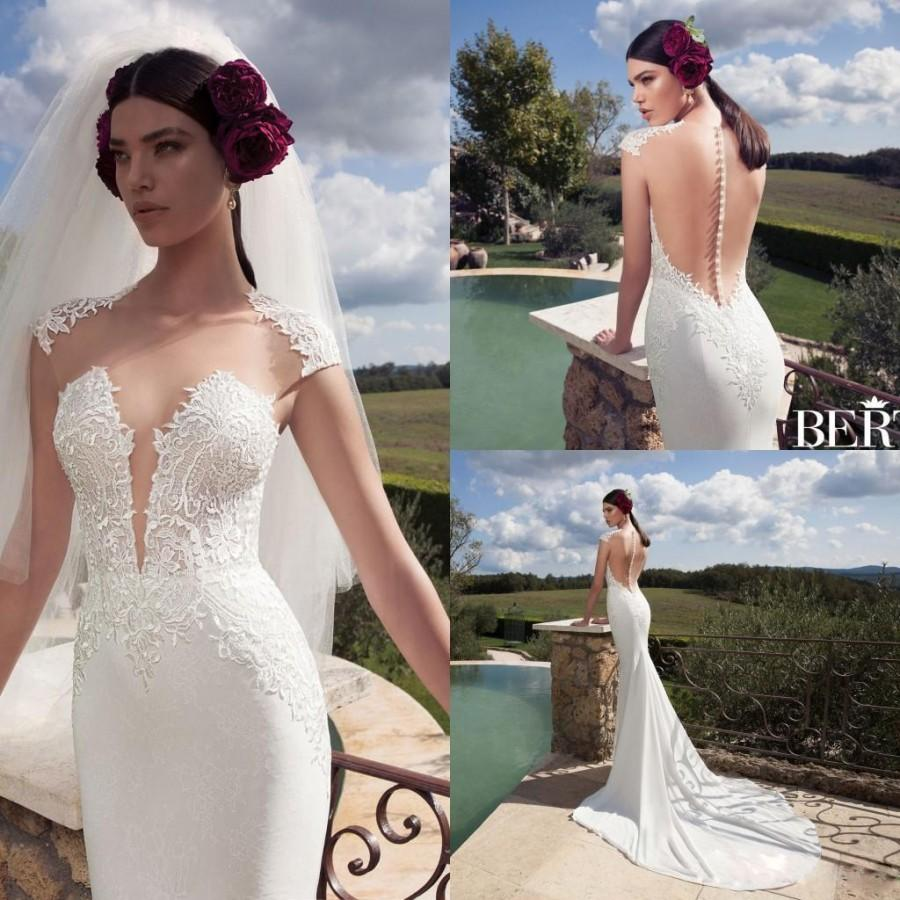 2016 new design berta ivory lace mermaid wedding dresses for Crew neck wedding dress