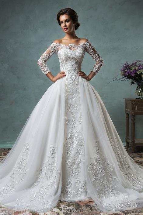 Wedding - 2015 New Sexy Sheer Long Sleeves Mermaid Wedding Dresses Off The Shoulder Court Train Lace Bridal Gowns With Removable Skirt AS Online with $125.66/Piece on Hjklp88's Store