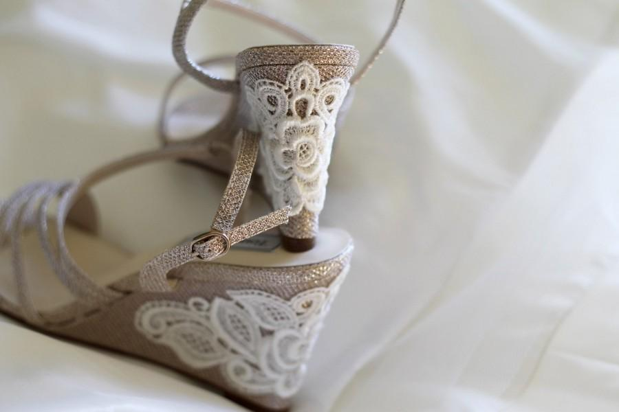 Wedding Shoes Gold Champagne Silver Wedge Sandals High Heels Low Vegan Bridal Embellished With Floral Ivory Venice Lace