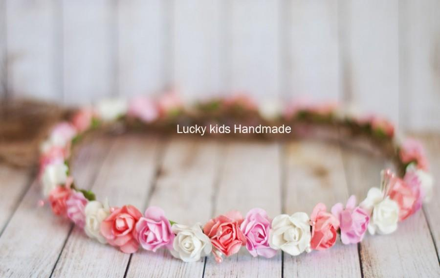 Wedding - Wedding Flower crown,Boho Crown,Rustic Bridal hair accessory, Vintage Wedding Crown, Flower Girl Halo, Shabby chic, Pink White Headpiece