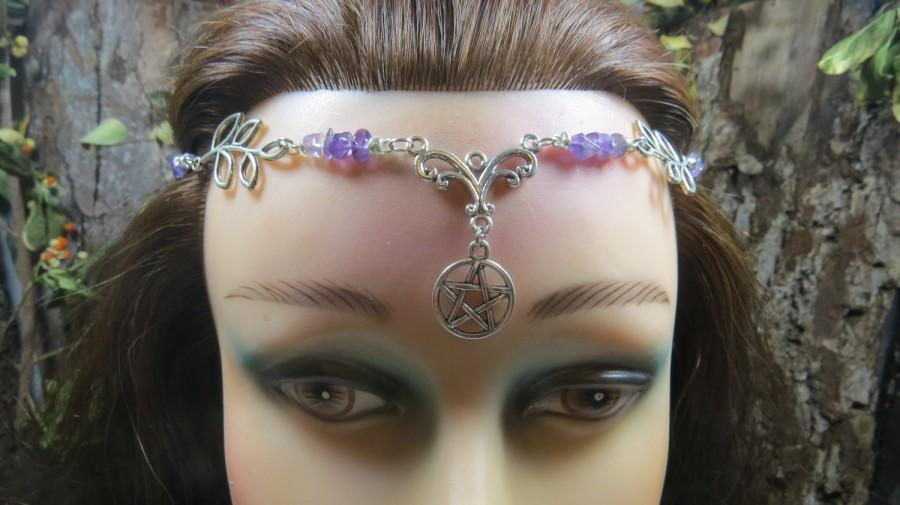 Pentacle circlet headpiece purple amethyst crystal tiara wiccan pentacle circlet headpiece purple amethyst crystal tiara wiccan wedding headdress handfasting circlet wicca pagan witch junglespirit Gallery