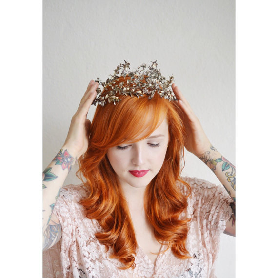 Wedding - Antique Wedding Crown, 1900 Gold Leaf Tiara, Antique Bridal Headpiece German Myrtle Tiara, Edwardian Bride