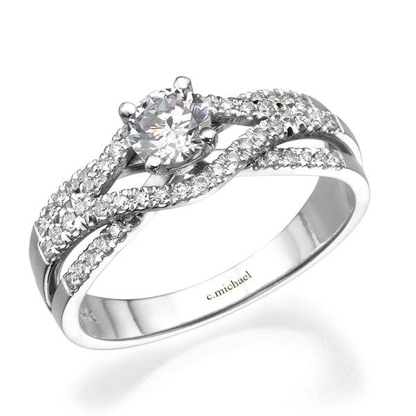 White Gold Engagement Ring 14k White Gold Ring Diamond Ring