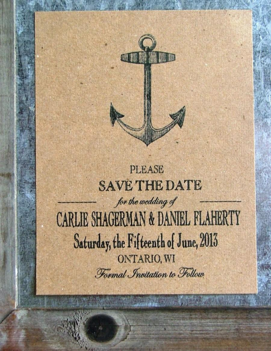 Nautical Save The Dates Anchor Date Cards Vintage Beach Wedding