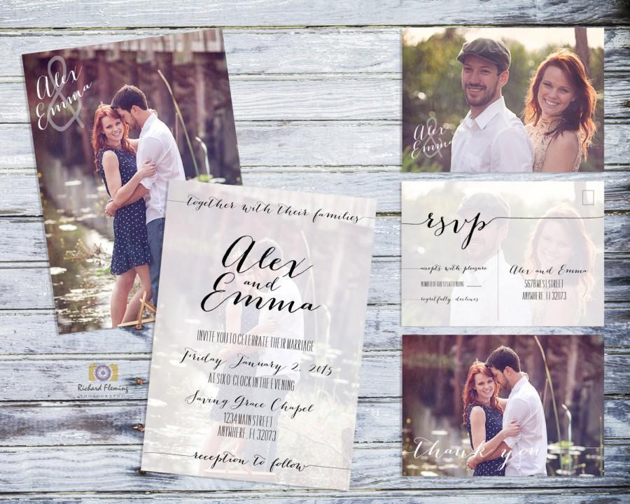 زفاف - Printable Photo Wedding Invitation, Rustic Wedding Invitation Suite, Shabby Wedding Invitation, Printable Country Wedding Invitation