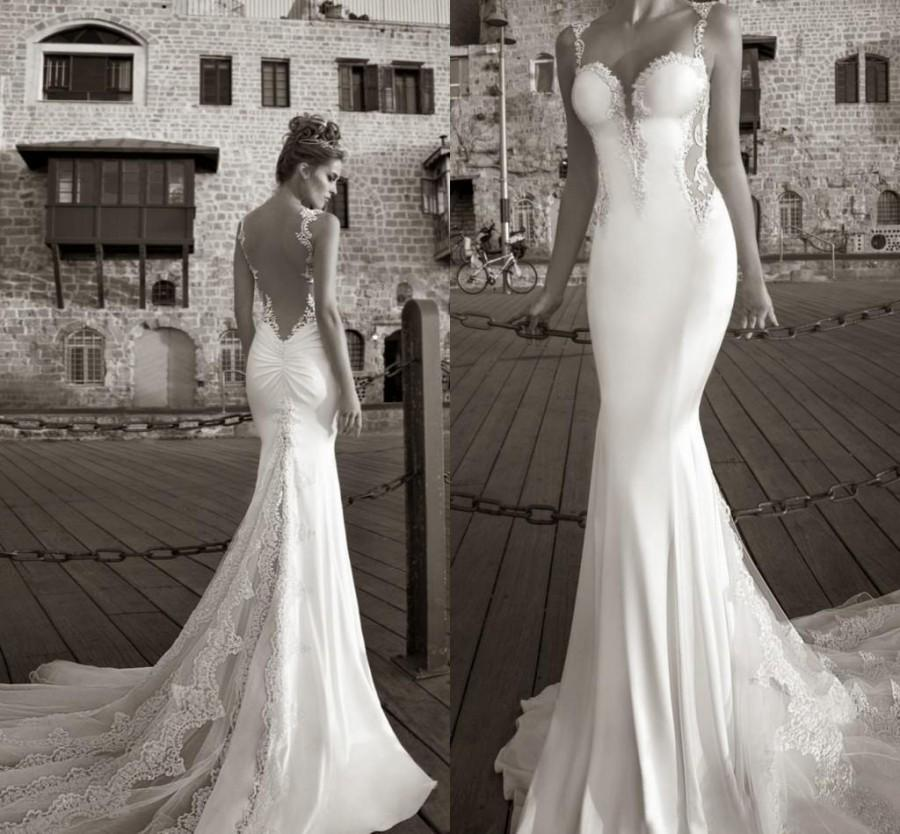 Hochzeit - Best Selling 2015 Galia Lahav Summer White Lace Bare Back Wedding Dress Beach Bridal Gown Mermaid Sheer Straps Tiers Sweep-Train 2014 Online with $94.25/Piece on Hjklp88's Store
