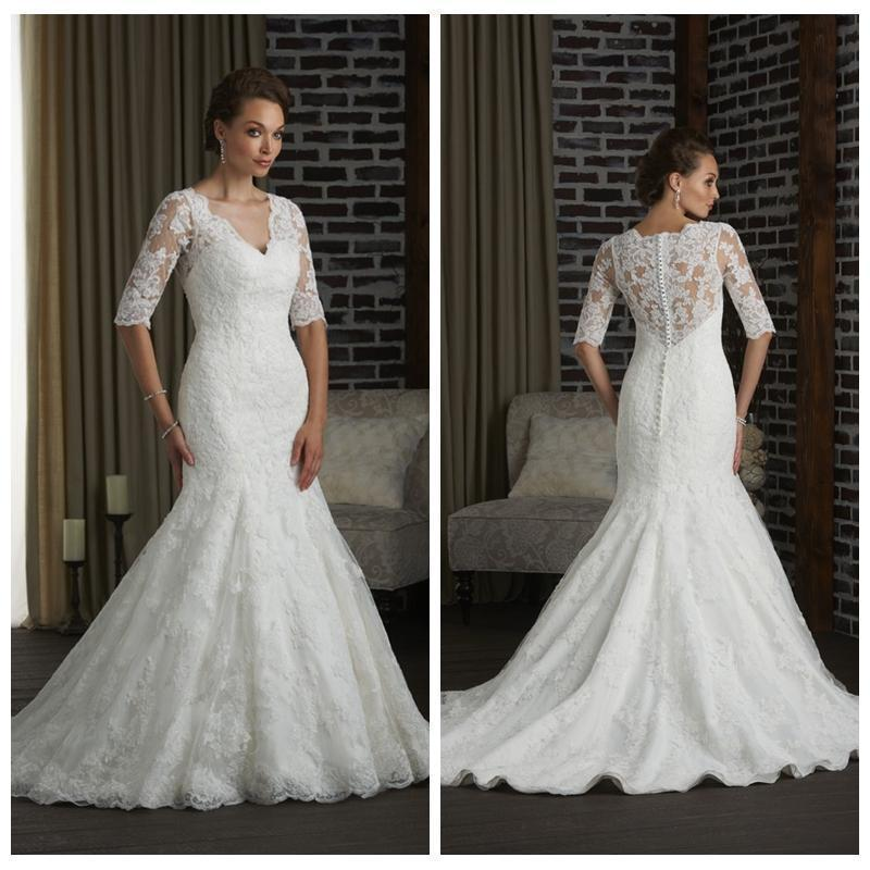 2016 New Hot Sale Berta Wedding Dresses Half Sleeve Lace Appliques ...