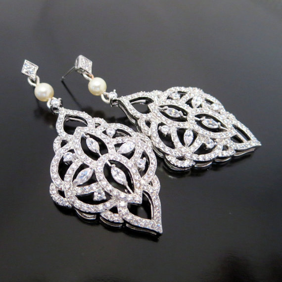 Mariage - Chandelier Wedding earrings, Crystal Bridal earrings, Bridal jewelry, Art Deco, Pearl earrings, Vintage style earrings, Long earrings, EMILY