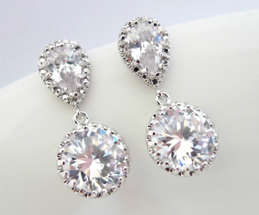 Round Cubic Zirconia Earrings Wedding Bridal Bridesmaids Short Dangle Cz Silver Formal Prom Christmas
