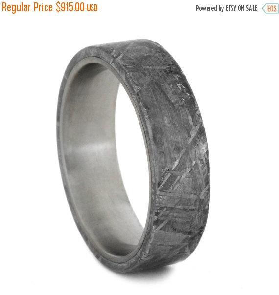 Wedding - Wedding Sale Titanium Ring with Gibeon Meteorite Overlay, Meteorite Wedding Band