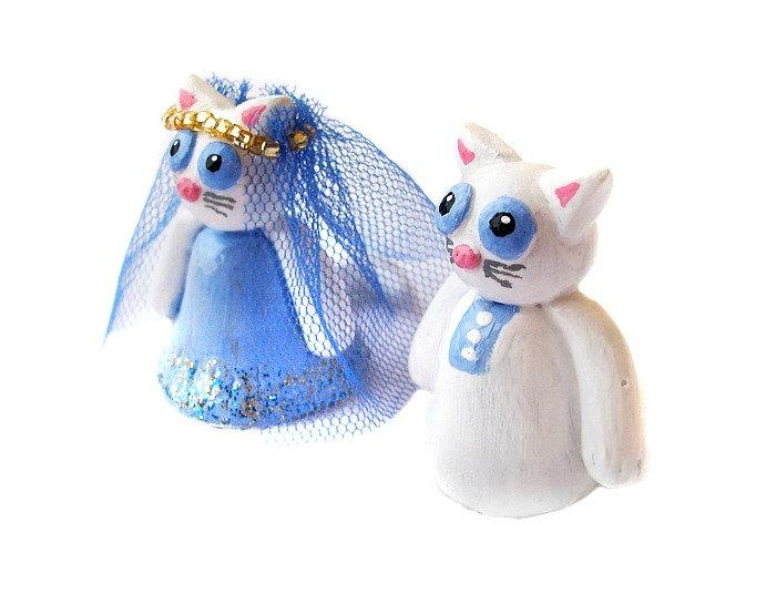 Mariage - Wedding Cake Topper, Cat Cake Topper, Polymer Clay Cat Cake Topper, Kitty Cake Topper